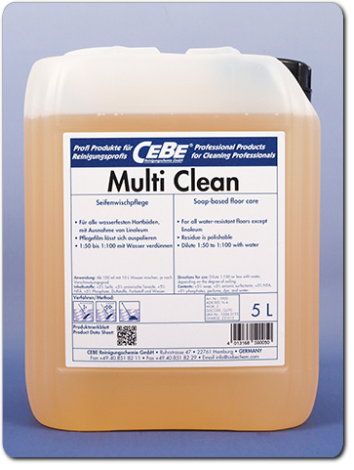Multi Clean - soap-based damp-mop care for hard floors from CEBE Reinigungschemie GmbH